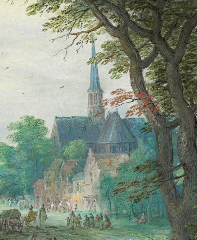 Jan Bruegel The Elder. Dancing figures on the banks of the river fragment. The upper left corner