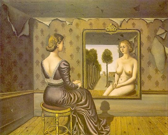 Paul Delvaux. Girl before a mirror