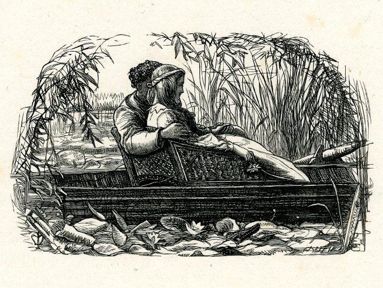 """Джон Эверетт Милле. Влюбленные в лодке среди камышей. Иллюстрация к стихотворению, """"Раз в неделю"""""""