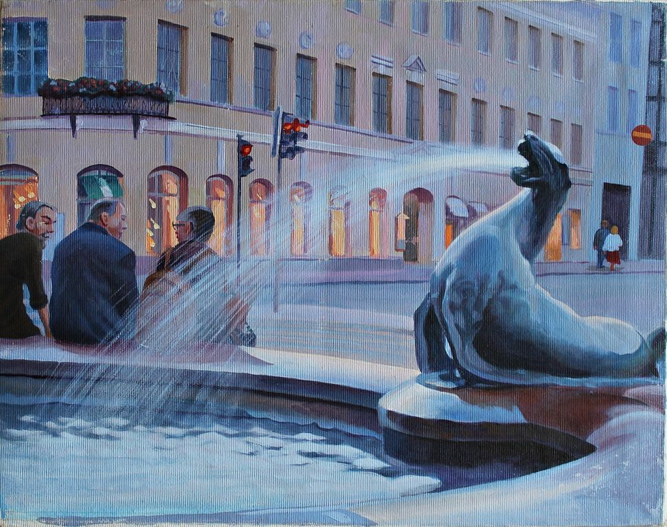 Peter Evelyn. Three at the fountain