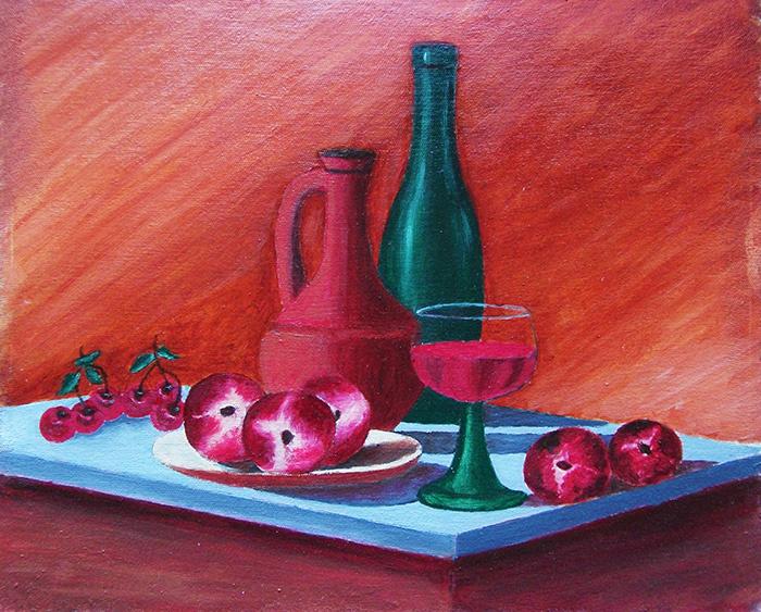 Victor Petrovich Burmin. Still life with peaches