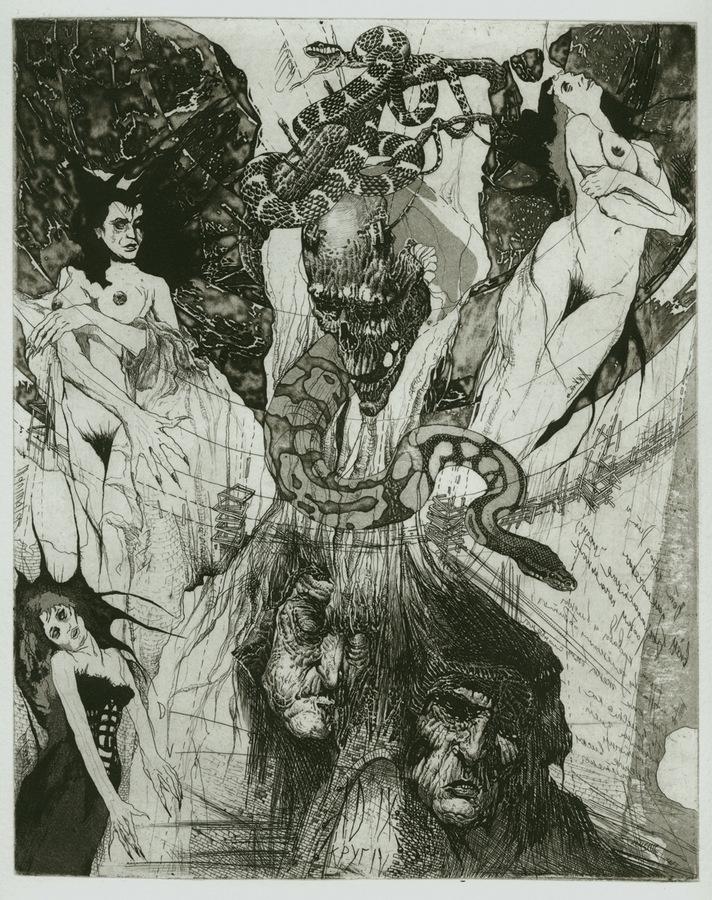 Alexander Nikolayevich Steshenko. Four furies. Illustration to Dante's divine Comedy