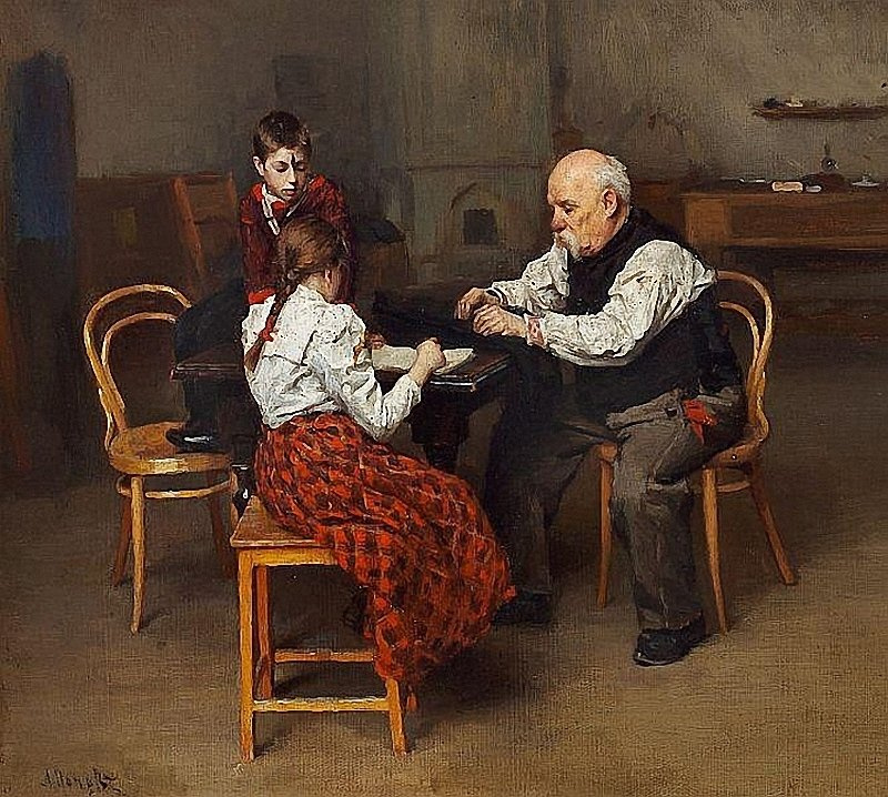 Lukian Vasilyevich Popov. Grandfather helps granddaughter with homework. Private collection