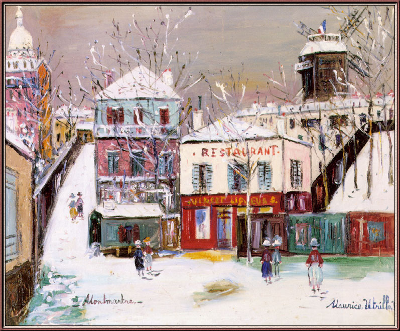 """Maurice Utrillo. """"The maquis"""" of Montmartre under the snow"""