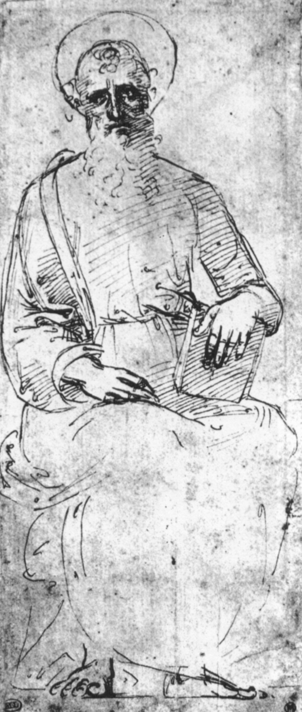 Raphael Sanzio. Sketch of a seated Holy