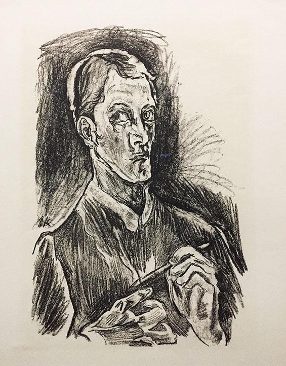 "Oskar Kokoschka. Self-Portrait (plate 1) from ""O Eternity - Thou Word of Thunder"" (Bach Cantata)"