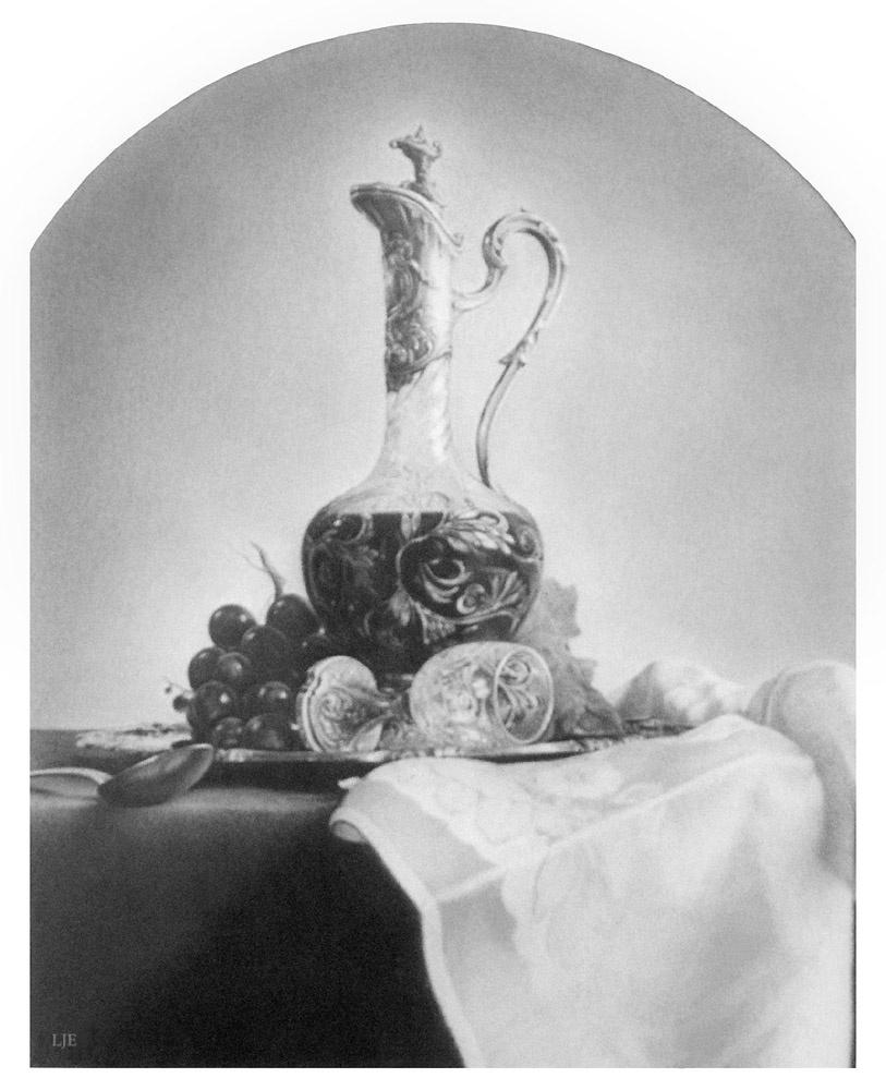 Луис Хосе Естремадойро. Натюрморт с графином и черным виноградом
