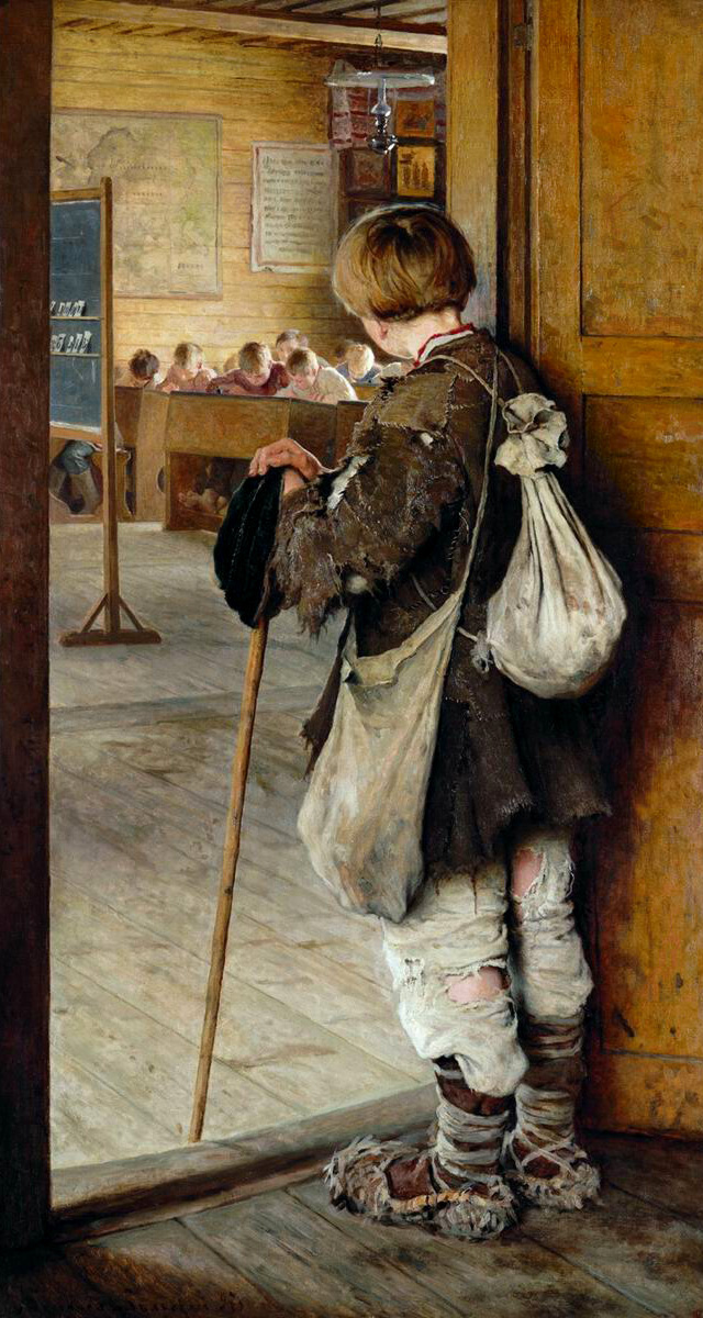 Nikolay Petrovich Bogdanov-Belsky. At the door of the school