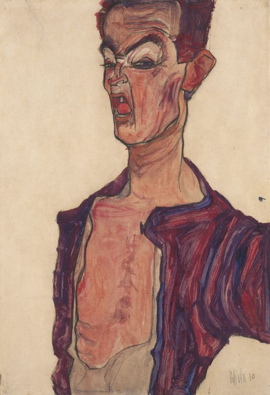 Egon Schiele. Self-portrait with grimace