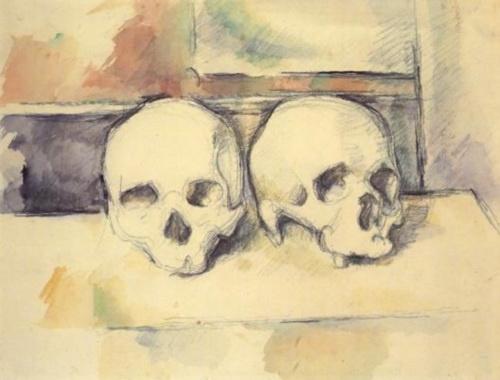 Paul Cezanne. Two skulls