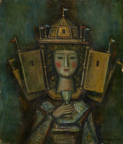 Александр Григорьевич Тышлер. Портрет женщины с бокалом