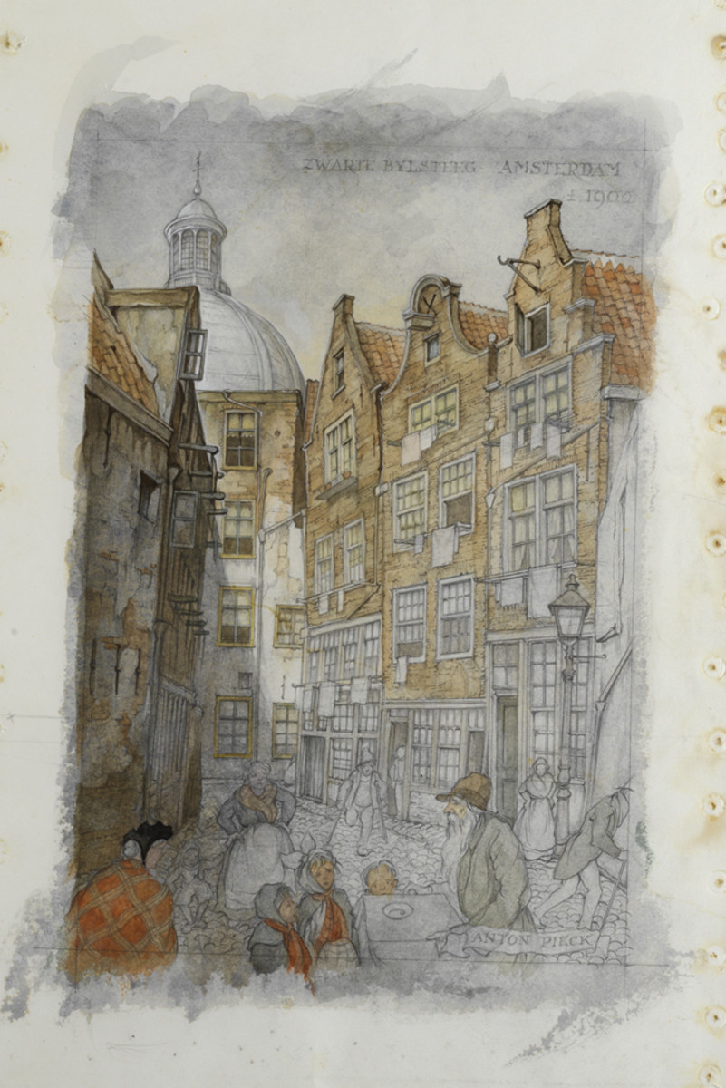 Anton Pieck. Street in Amsterdam in 1900