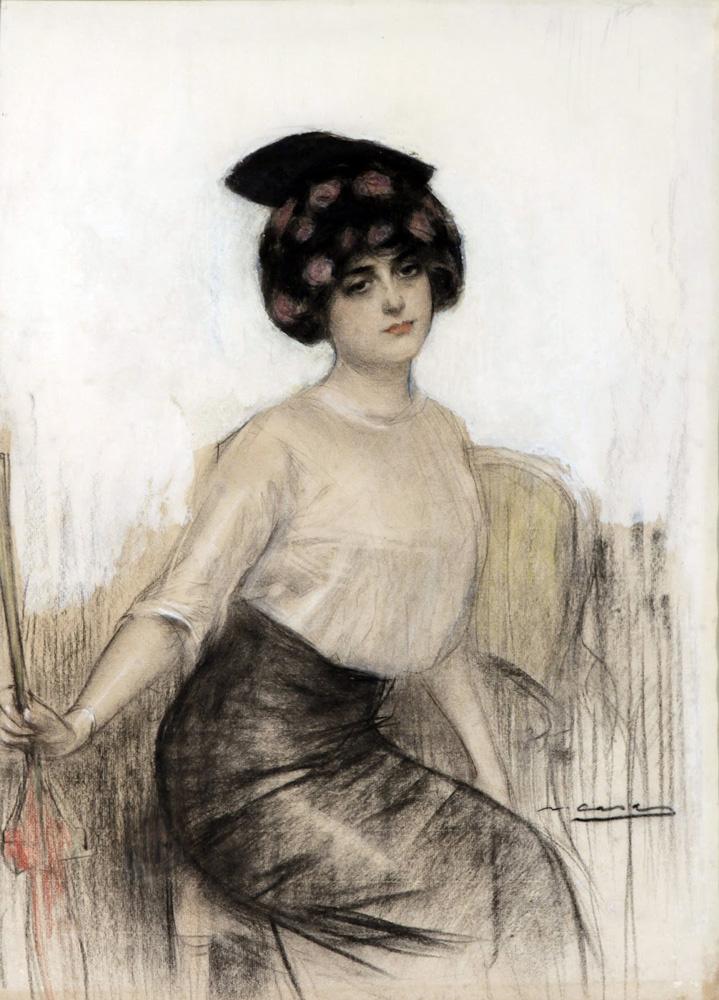 Ramon Casas i Carbó. Julia with hat and umbrella