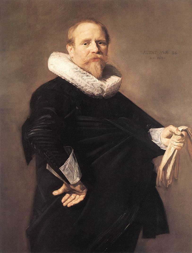 Frans Hals. Portrait of a man with white gloves