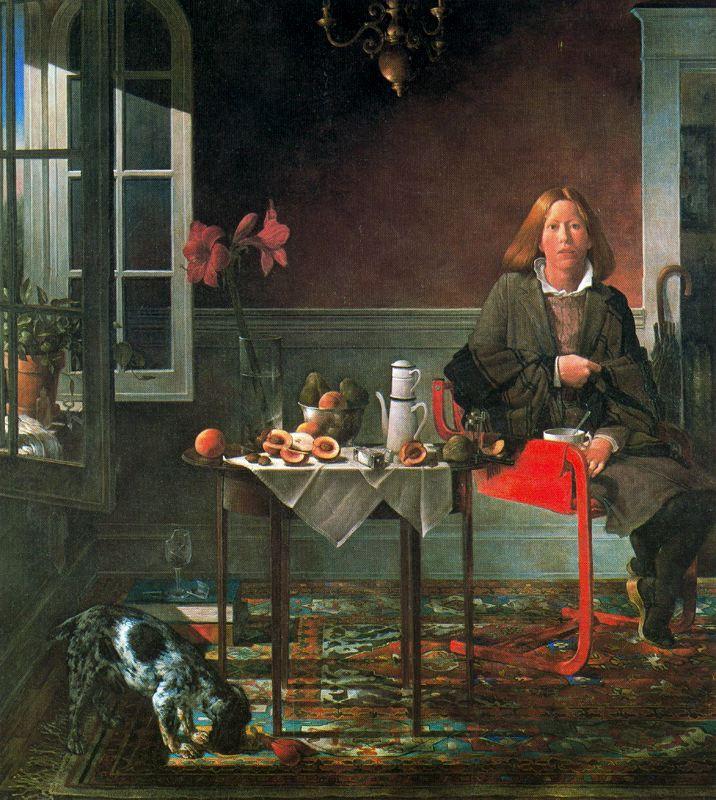 Стоун Робертс. Женщина на красном стуле
