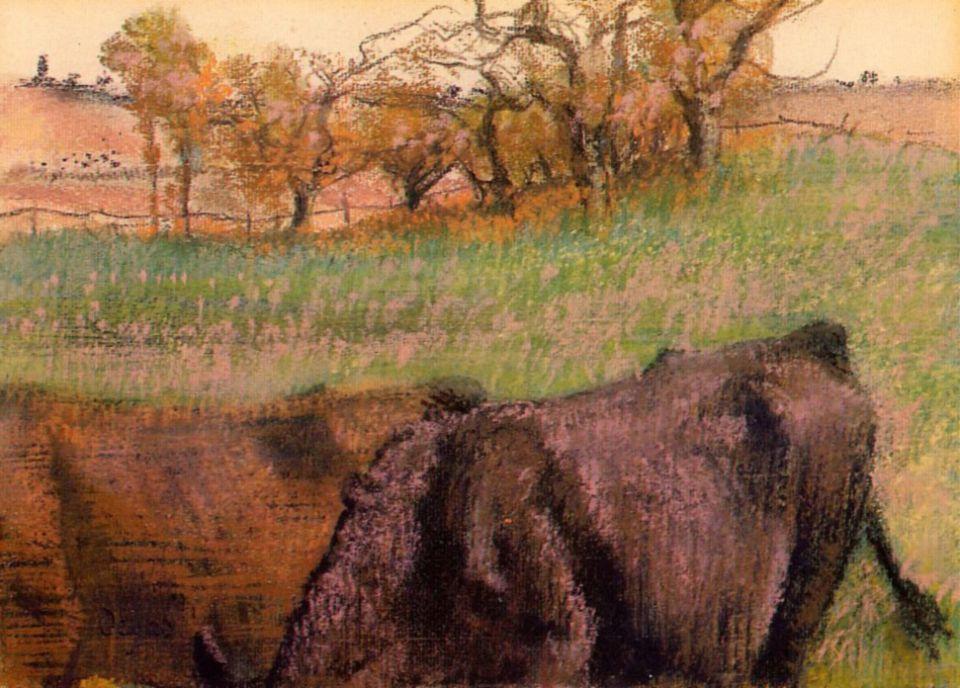 Эдгар Дега. Пейзаж, коровы