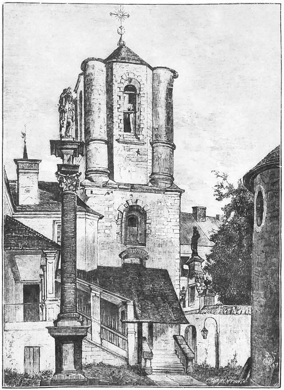 Ян Матейко. Львов. Башня Армянского собора и колонна св. Кшиштофа, вид с кладбища