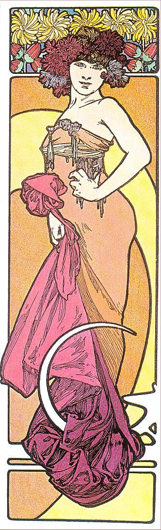 Alfons Mucha. Brunette