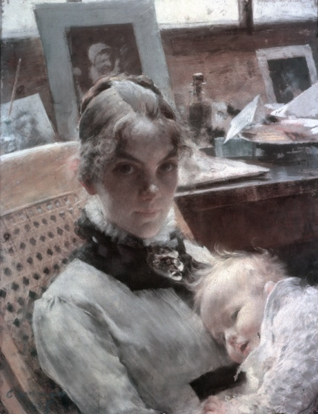 Carl Larsson. Karin and daughter Suzanne in Paris