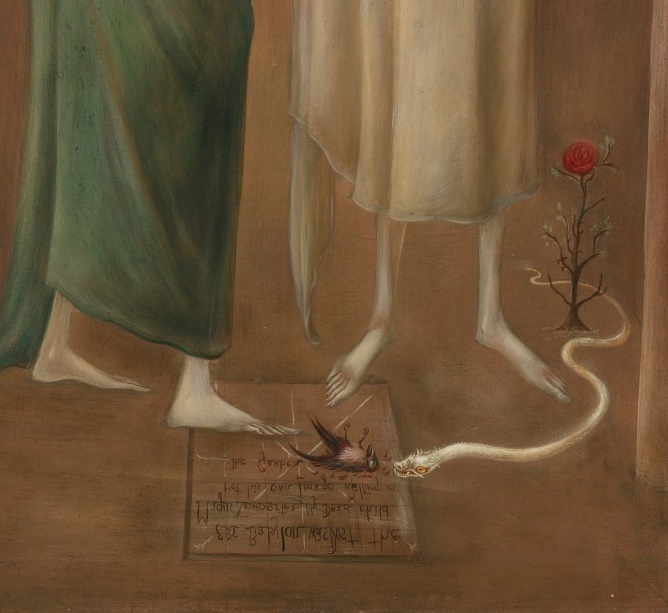 Leonora Carrington. The magician Zoroaster meets his image in the garden (Brothers in Babylon). Fragment