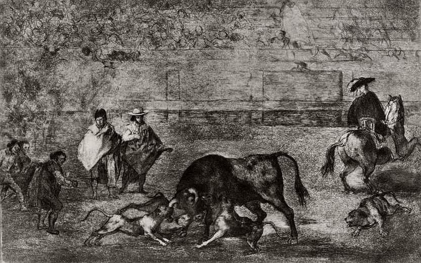 Франсиско Гойя. Серия Тавромахия, лист С: Собаки набрасываются на быка