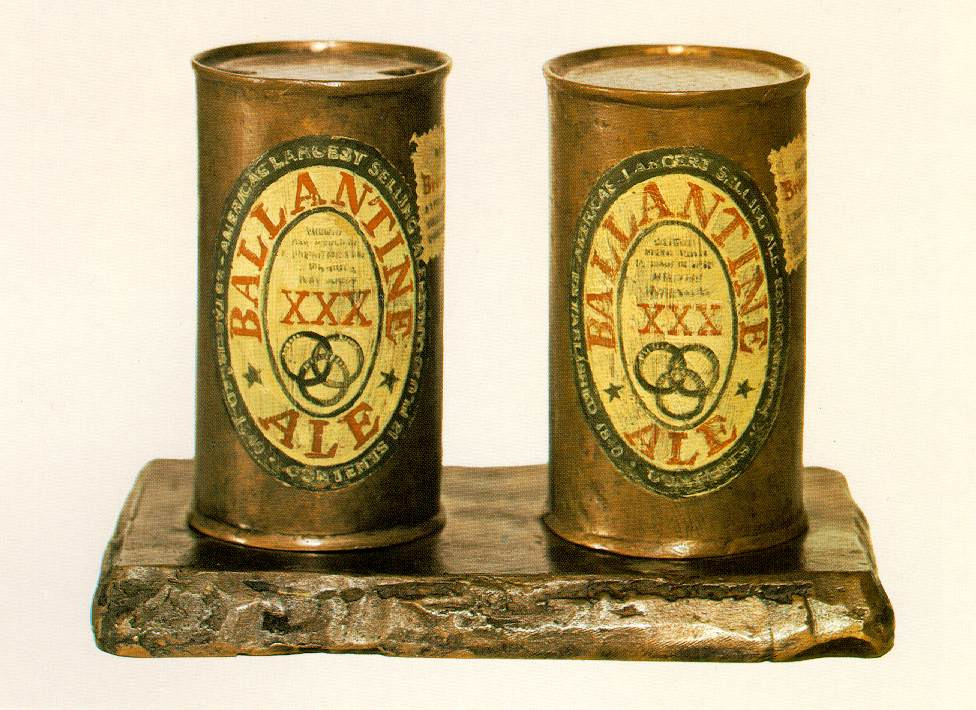 Jasper Jones. Painted bronze (ale Cans, Ballentin)