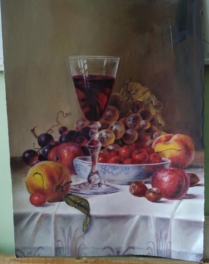 Platonova Alexandra. Still life with a glass of red wine and fruit (copy)