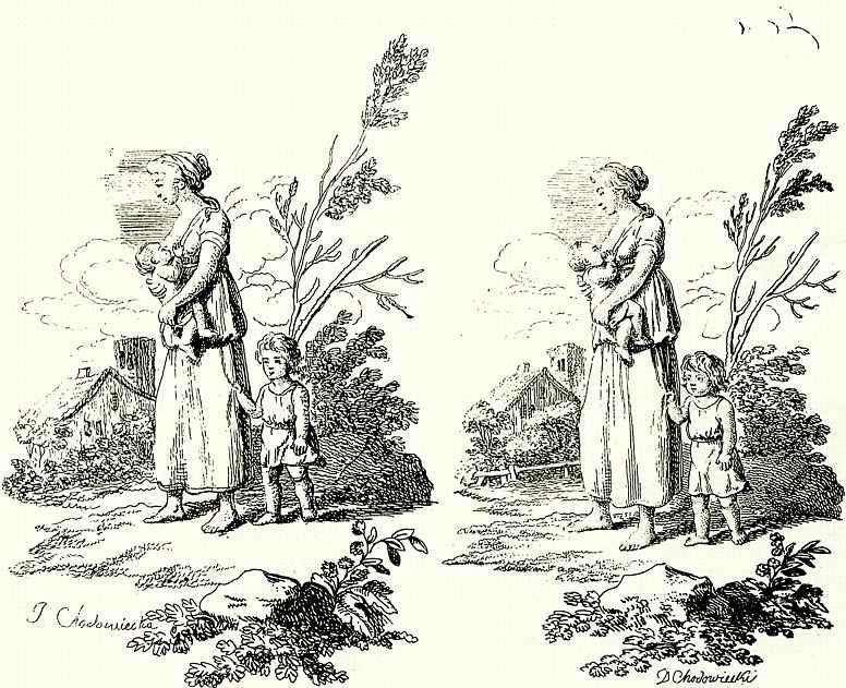 Даниэль  Николай Ходовецкий. Женщина с двумя детьми