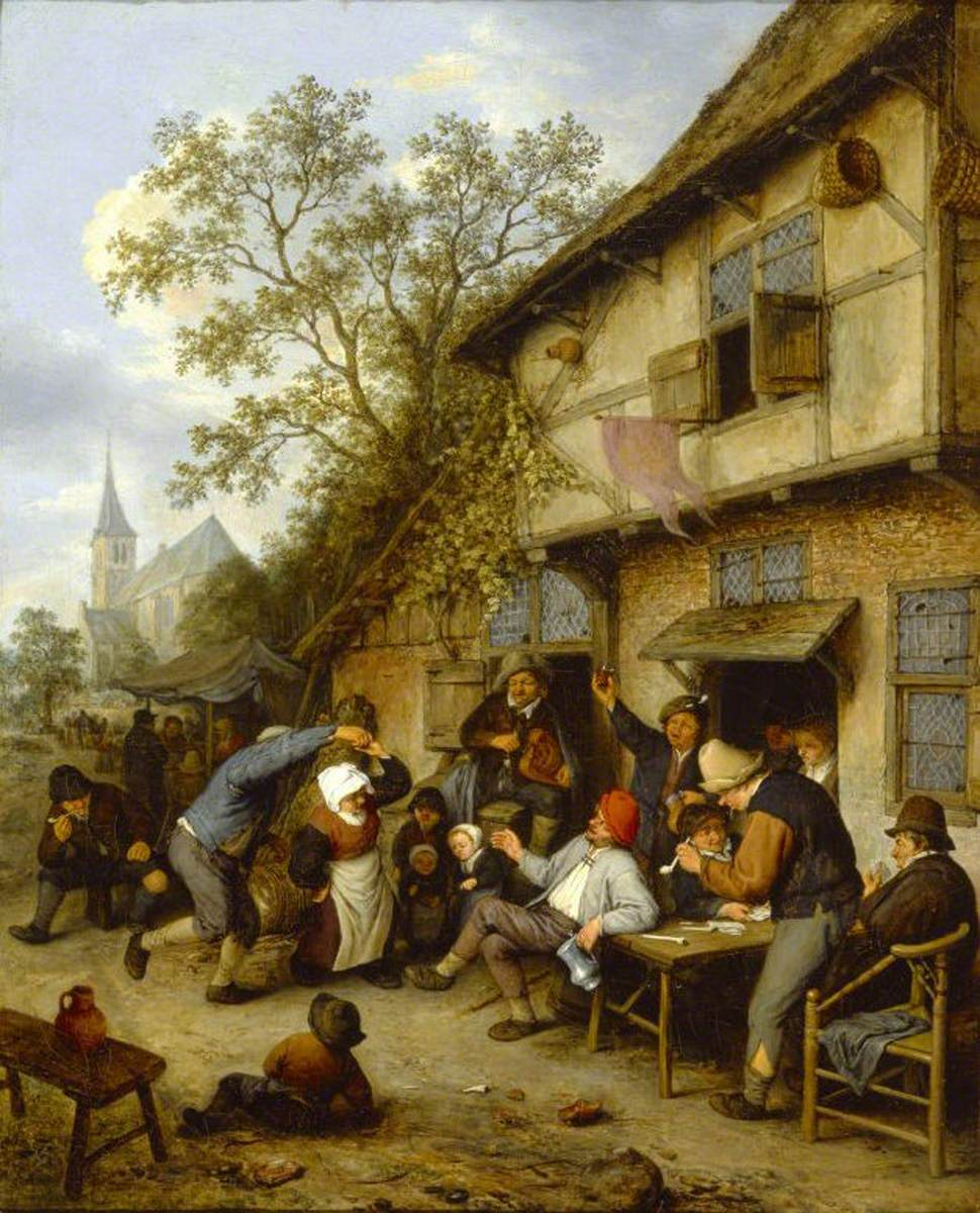 Adrian Jans van Ostade. Peasants dancing near the hotel