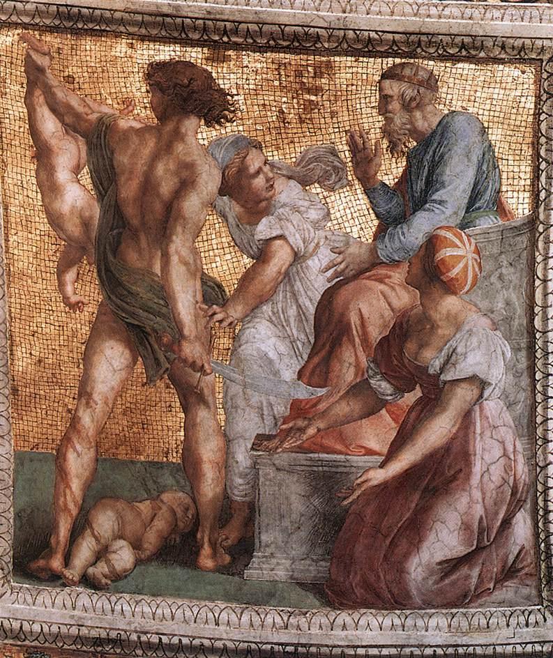 Рафаэль Санти. Станца делла Сеньятура. Роспись потолка. Суд Соломона (фрагмент)