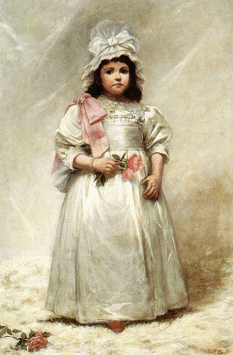 Eduvenecq. Girl in white dress with roses