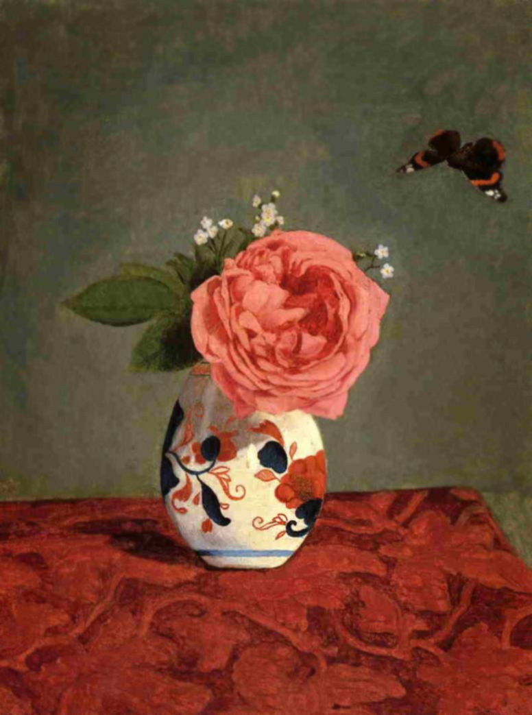 Gustave Caillebotte. Rose and blue forget-me-nots in a vase