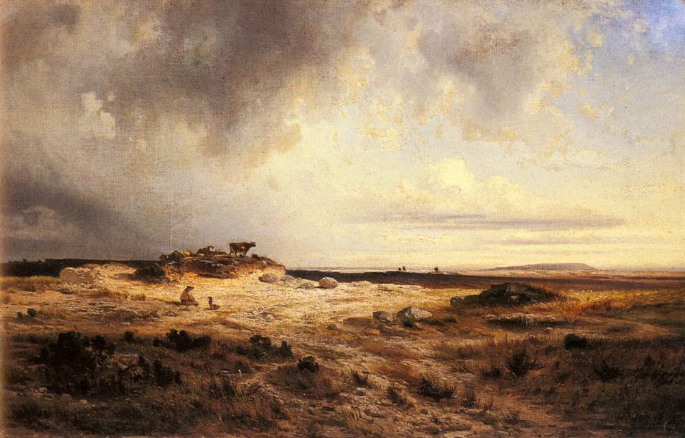 Жорж Мишель. Обширный пейзаж с грозовым небом
