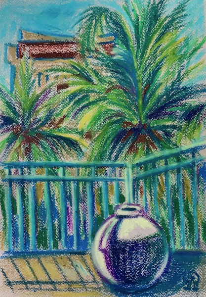 Larissa Lukaneva. Hainan. View from the balcony. Sketch.