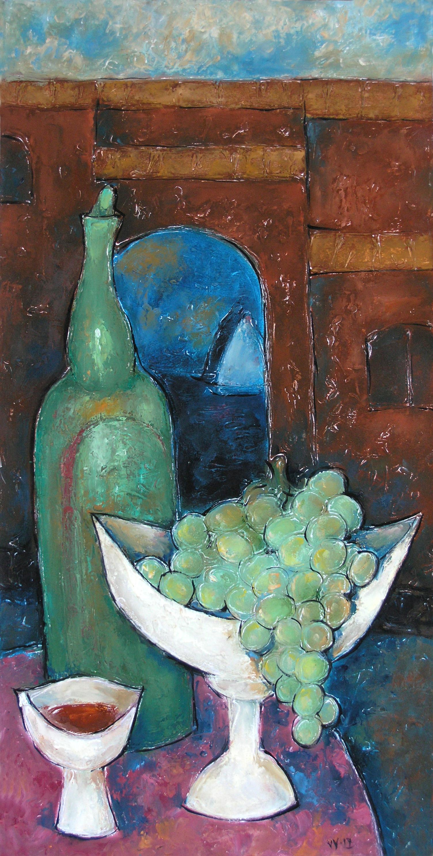 Valentina Evmenenko. Still life with grapes