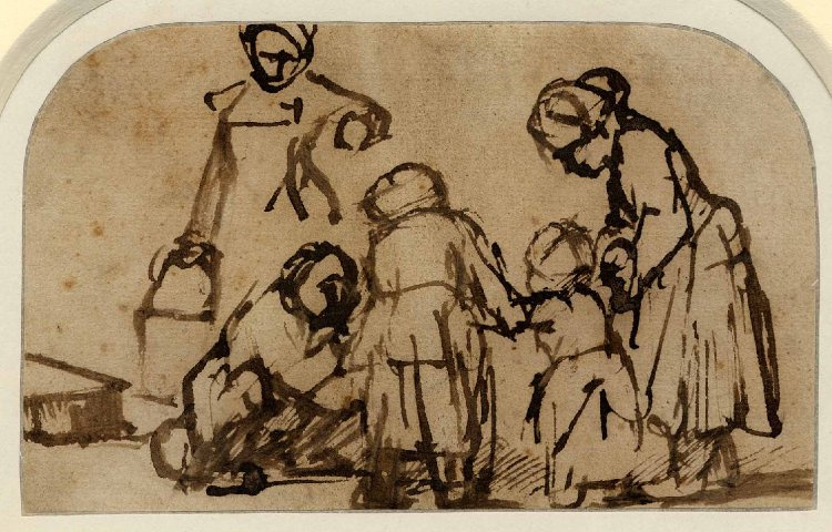 Rembrandt Harmenszoon van Rijn. A child being taught to walk