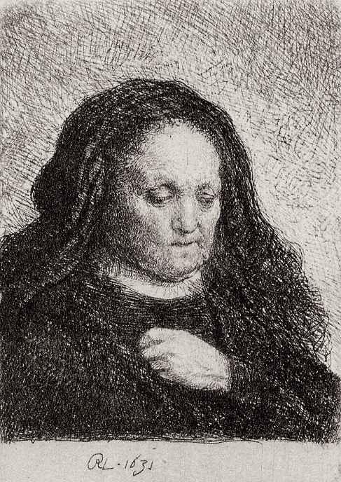Рембрандт Ван Рейн. Портрет матери с рукой, прижатой к груди