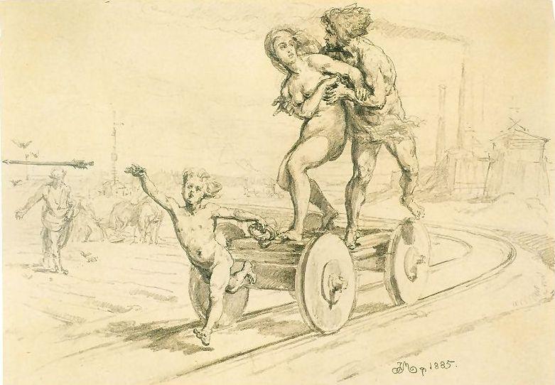 Ян Матейко. История человеческой цивилизации: изобретение железной дороги. Эскиз