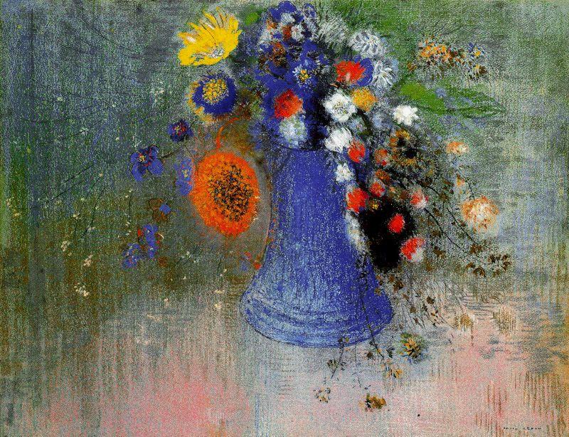 Одилон Редон. Синяя ваза с цветами