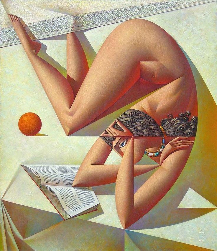 George Vladimirovich Kurasov. Woman reading a book and an orange