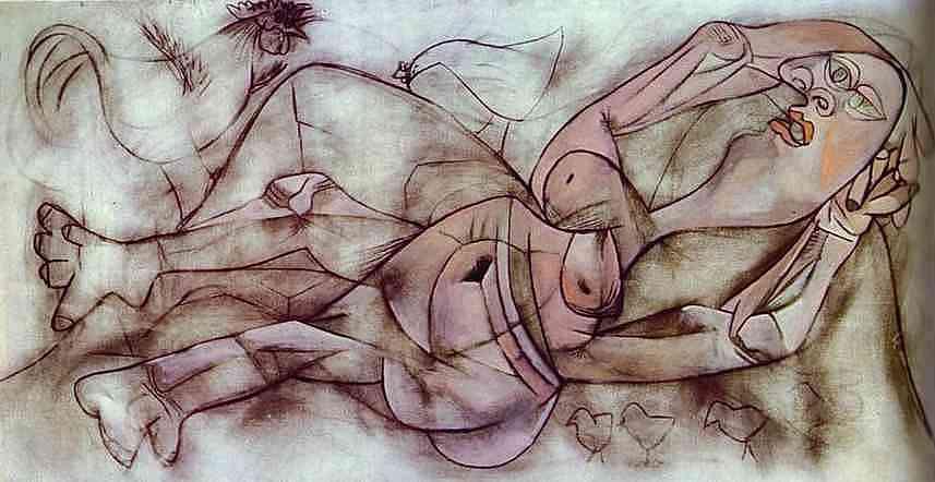 Пабло Пикассо. Фермер и обнаженная женщина в окружении кур