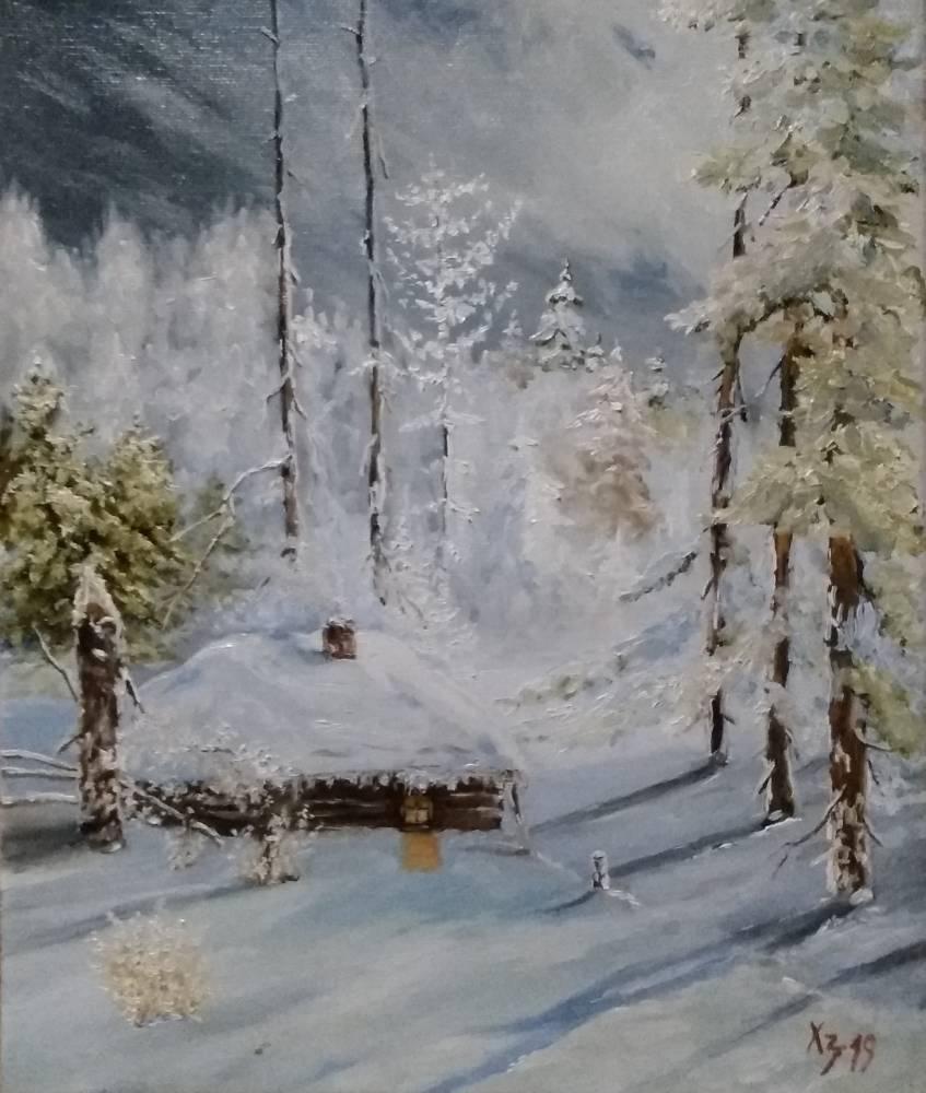 Сергей Николаевич Ходоренко-Затонский. Winter forest. Hut