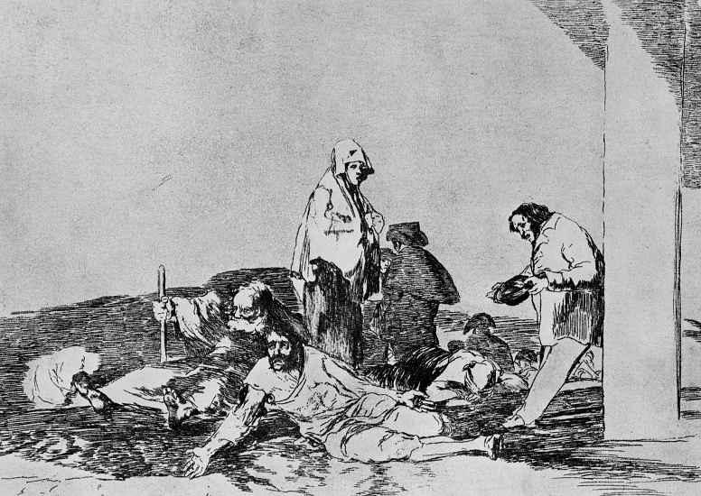 """Франсиско Гойя. Серия """"Бедствия войны"""", лист 58: Они не взывают"""