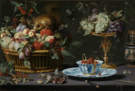 Франс Снейдерс. Натюрморт с фруктами, фарфором и белкой