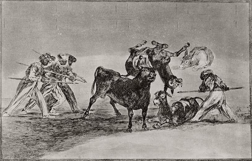 """Франсиско Гойя. Серия """"Тавромахия"""", лист 17: Мавры используют ослов, чтобы защититься от атаки быка"""