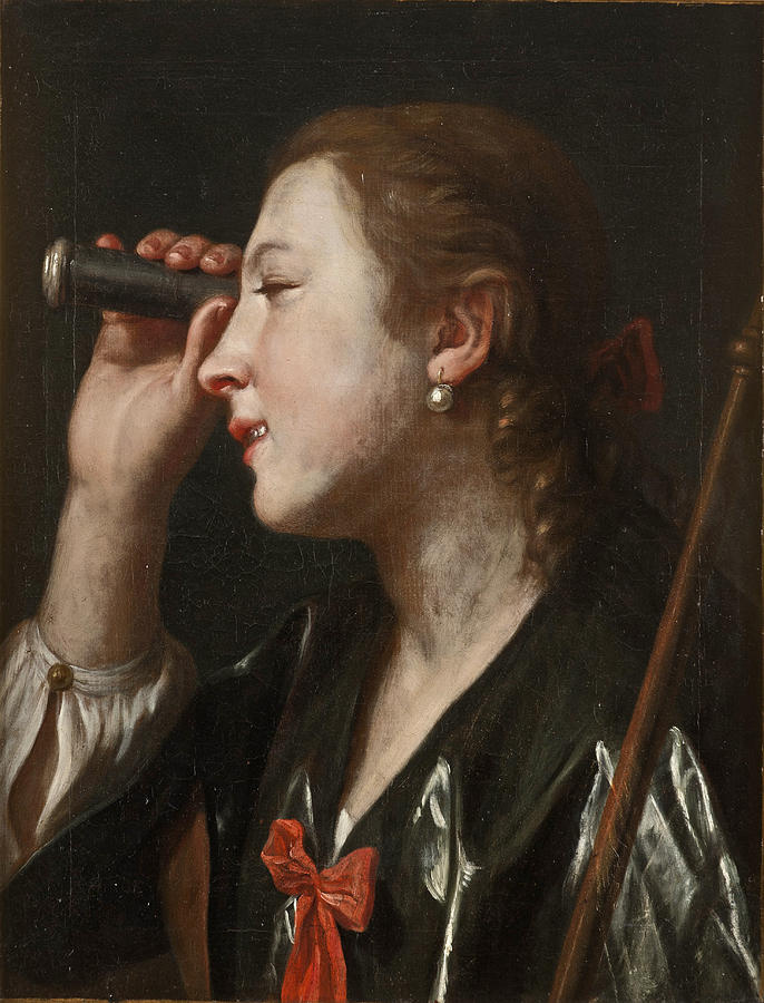 Pietro Rotary. Girl looking through a telescope