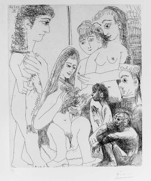 Пабло Пикассо. Семь фигур с молодым человеком, несущим рыбу и женщина, держащая птицу