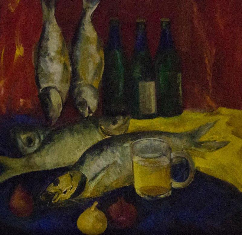 Alexander Ilyich Michri. Still life with fish
