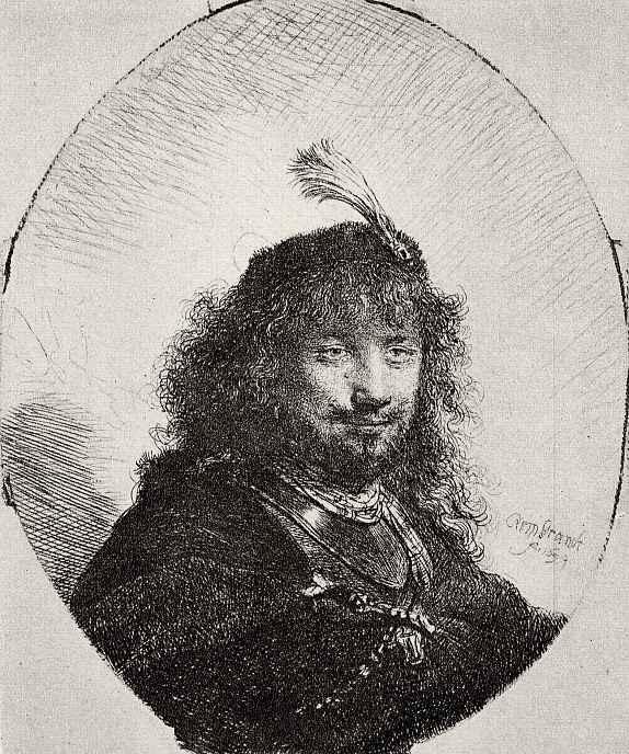Рембрандт Харменс ван Рейн. Автопортрет в шапке с пером
