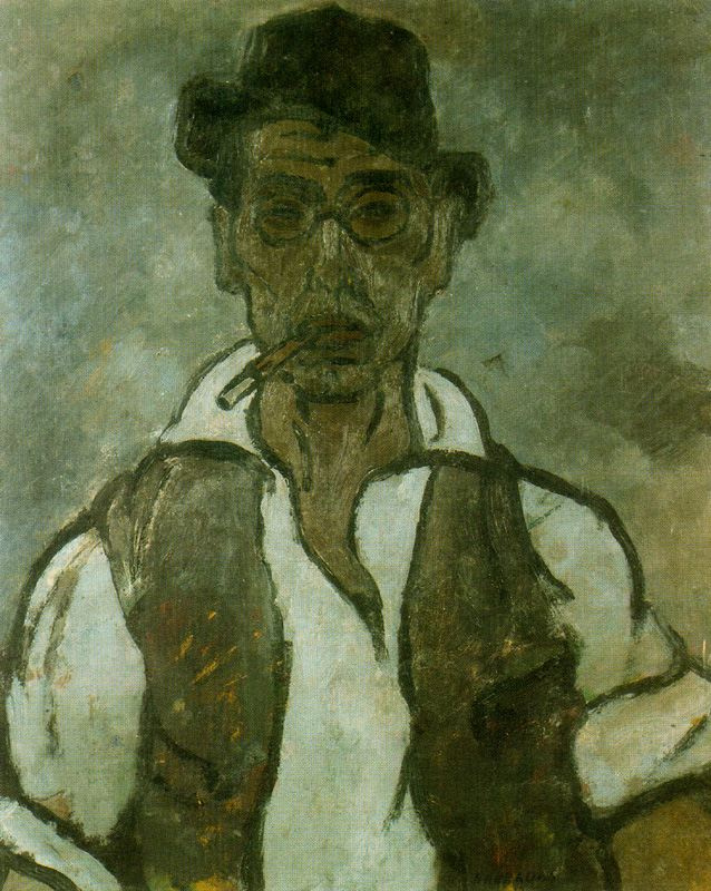 Rafael Barradas. Portrait of a man in a cap